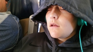 Jerie decided to catch some sleep on the plane to Boston