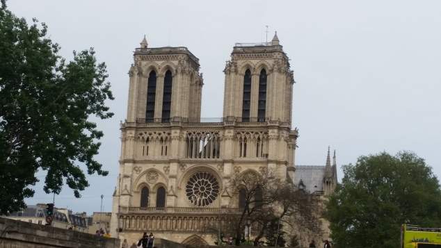 View of Notre Dame Cathedral from the river cruise